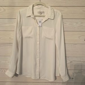 NWT! Loft off white button down top w lace detail